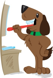 happy dog brushing his teeth at vanity sink
