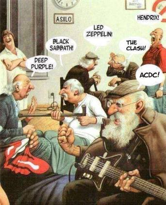 cartoon of old men arguing about how the best rock band is