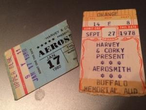 Aerosmith concert stubs
