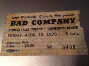Bad Company concert stub