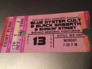 Black Sabbath Blue Oyster Cult concert stub