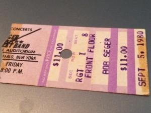 Bob Seger concert ticket stub