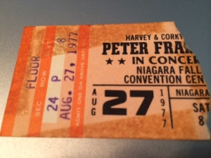Peter Frampton concert ticket stub