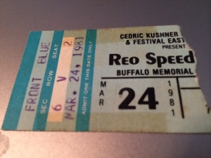 REO Speedwagon concert ticket stub