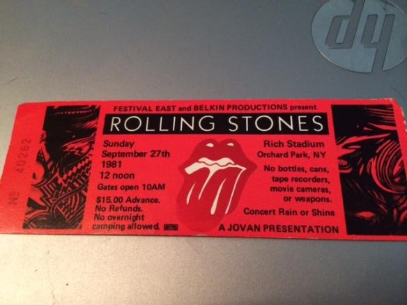 Rolling Stones concert ticket stub 1981