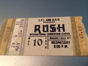 Rush concert ticket stub
