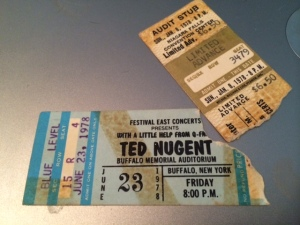 Ted Nugent concert ticket stubs