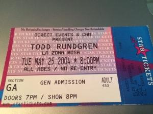 Todd Rundgren concert ticket stub 2004
