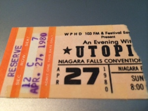 Utopia concert ticket stub - 1980