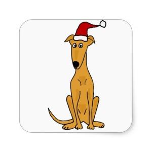 cartoon greyhound in Santa hat