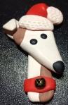 clay greyhound in Christmas Santa hat