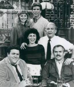 """Original main characters """"Cheers original cast 1982-86 (1983)"""" by Source (WP:NFCC#4). Licensed under Fair use via Wikipedia"""