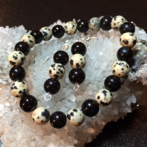 Dalmatian Jasper and Black Jasper stretch bracelet and matching earrings