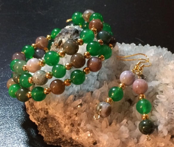 Fancy Jasper & Emerald Jade triple-strand wrap bracelet and earrings set