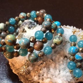 Flower Agate, Blue Quartz & Faceted Pyrite triple-strand wrap bracelet and matching earrings