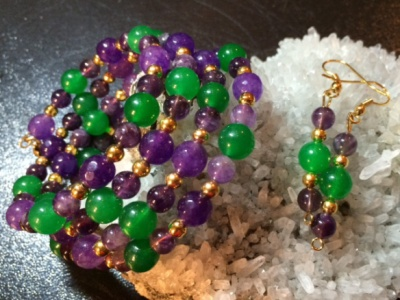 Amethyst & Emerald Jade 4-strand wrap bracelet and earrings2