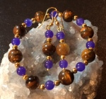 Tiger's Eye & Blue Aventurine stretch bracelet and matching earrings set