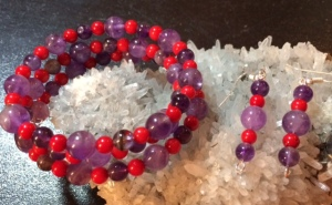 Amethyst and Red Bamboo Coral wrap bracelet & earrings set