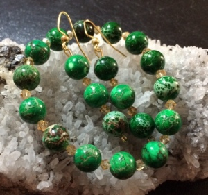 Green Imperial Jasper and Champagne Crystals