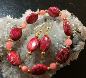 Red Imperial Jasper with Pink Stone and gold accents