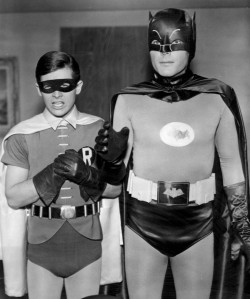Series stars Burt Ward (left) and Adam West (right), as Dick Grayson/Robin and Bruce Wayne/Batman, respectively.