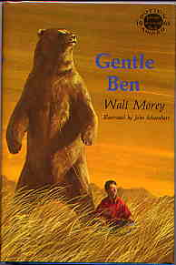 Dust jacket of the original 1965 E.P. Dutton edition of Gentle Ben by Walt Morey