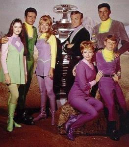 Publicity photo (1967) for Lost in Space: shows cast members: Angela Cartwright, Mark Goddard, Marta Kristen, Bob May (Robot), Jonathan Harris, June Lockhart, Guy Williams & Billy Mumy.