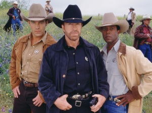 Judson Mills, left, Chuck Norris, center, and Clarence Gilyard star on WALKER, TEXAS RANGER. Photo: Tony Esparza/CBS