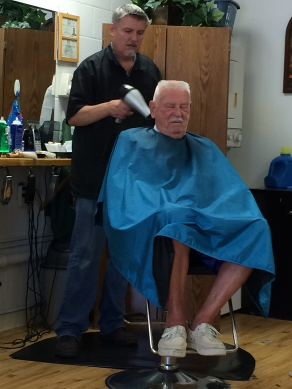 Dad at Rick's Flattop Shop - April 2016